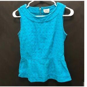 kate spade peplum lace blouse blue size small